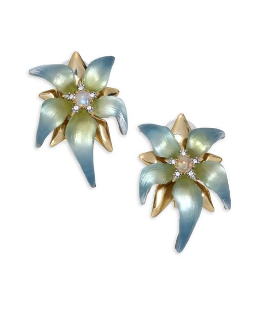 Alexis Bittar | Multicolor Lucite, Moonstone & Crystal Petal Clip-on Earrings | Lyst