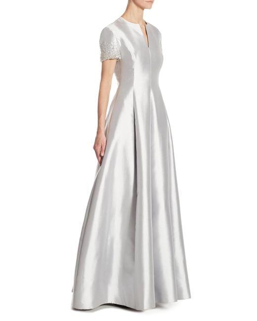 Catherine Regehr   Gray Embellished Silk & Wool Gown   Lyst