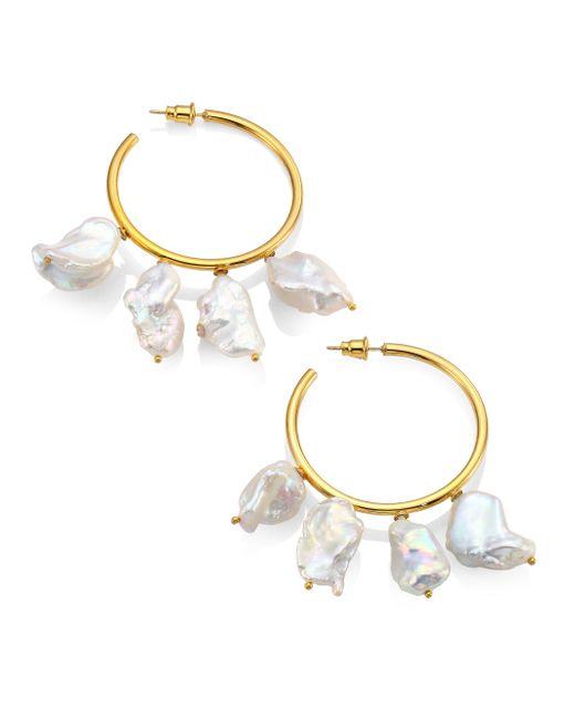 Lizzie Fortunato | Metallic Keishi Cool 21mm White Pearl Hoop Earrings | Lyst