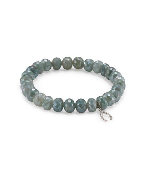Sydney Evan | Wishbone Diamond & Blue Silverite Beaded Bracelet | Lyst
