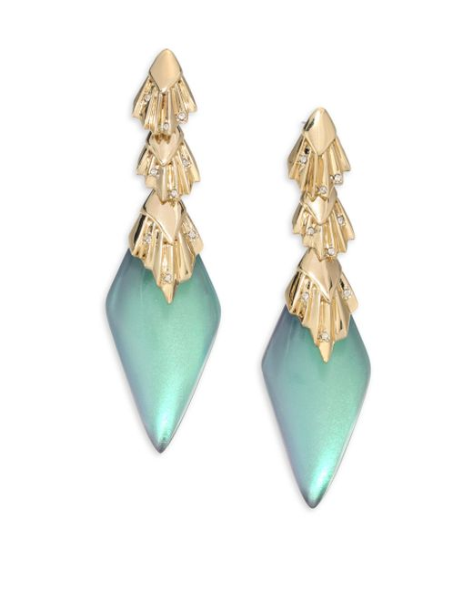 Alexis Bittar | Green Lucite Crystal Studded Pleated Dangling Drop Earrings | Lyst