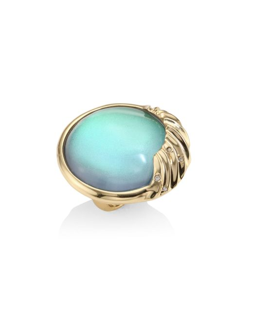 Alexis Bittar   Multicolor Lucite Crystal-studded Sculptural Sphere Cocktail Ring   Lyst