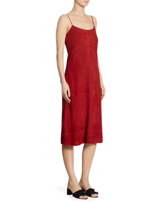 Theory | Red Telson Suede Crepe Dyed Slip Dress | Lyst