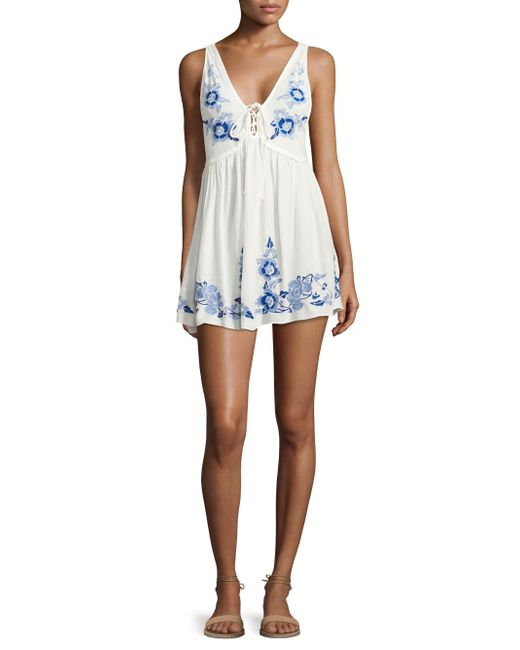 Free People | White Embroidered Aida Slip Dress | Lyst