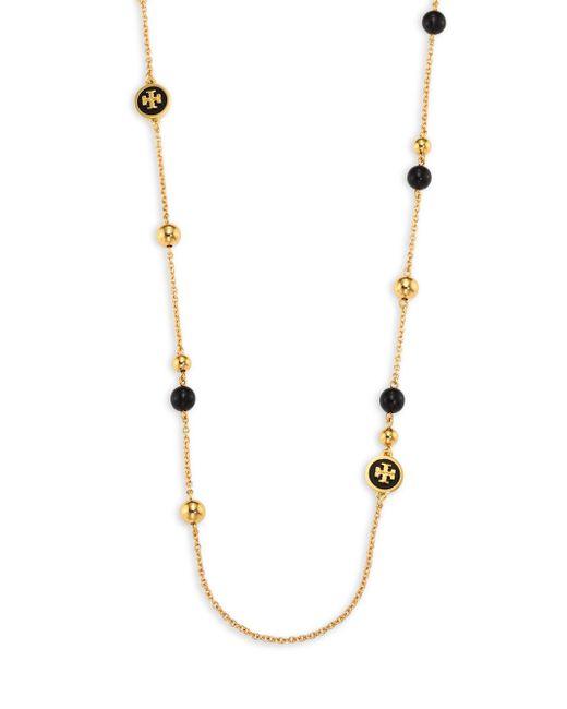 Tory Burch | Metallic Raised Logo Rosary Necklace | Lyst