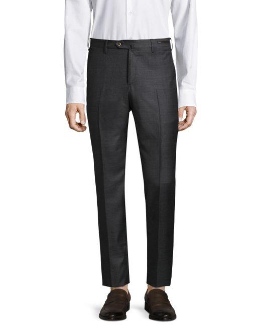 PT01   Gray Textured Wool Trouser for Men   Lyst