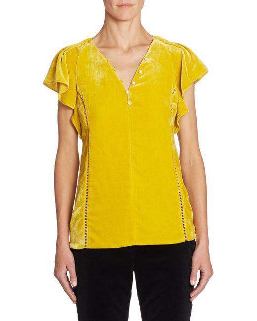 Altuzarra | Yellow Nicolle Velvet Top | Lyst