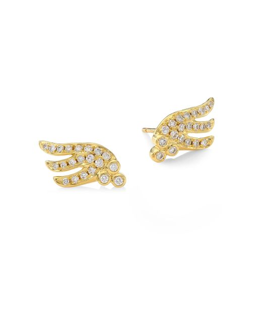 Temple St. Clair | Metallic Wing Diamond & 18k Yellow Gold Stud Earrings | Lyst