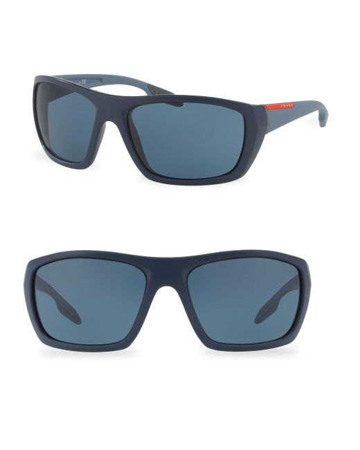 Prada Sport | Blue 61mm Wrap Sunglasses for Men | Lyst