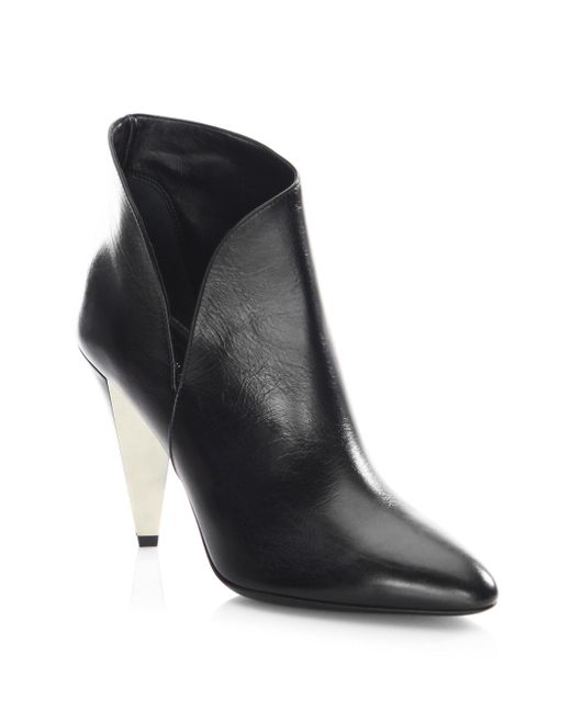 Michael Kors | Black Angelina Leather Point Toe Booties | Lyst