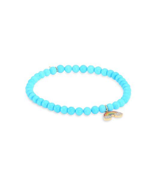 Sydney Evan | Blue Rainbow Diamond & Turquoise Bead Bracelet | Lyst