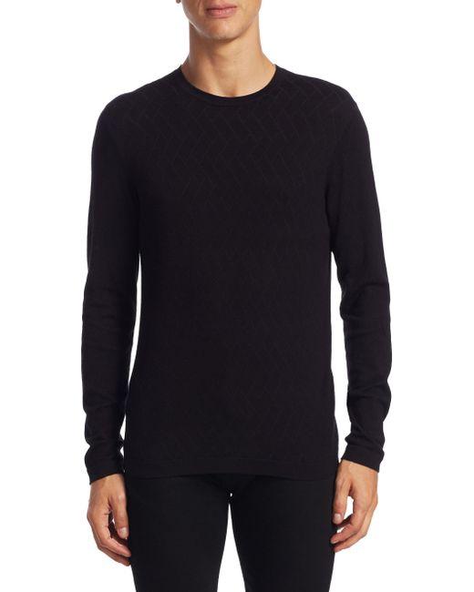 Armani | Black Allover Herringbone Sweater for Men | Lyst