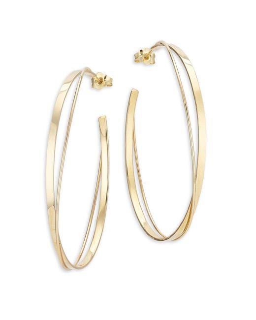 Lana Jewelry | Metallic 15-year Anniversary 14k Yellow Gold Crisscross Magic Hoop Earrings | Lyst