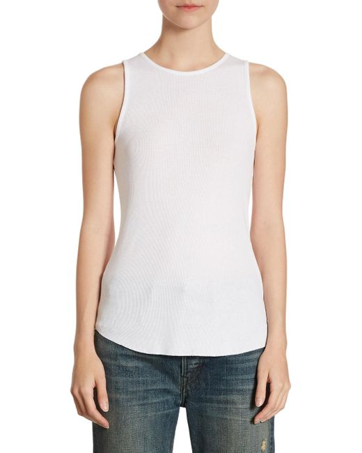 Vince   White Textured Tank Top   Lyst