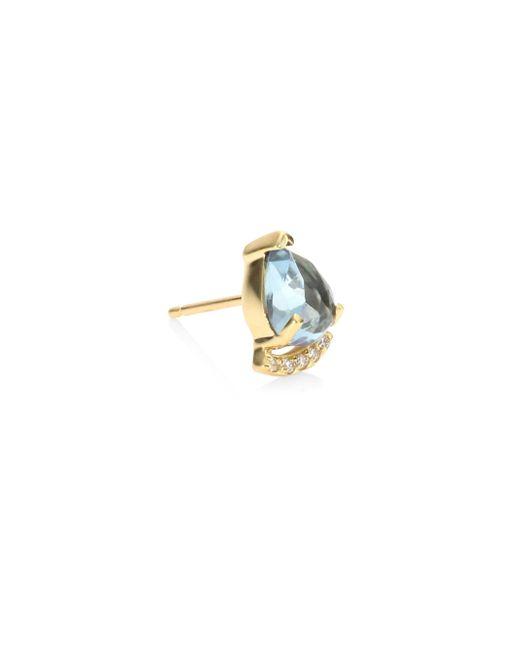 Paige Novick   Metallic Powerful Pretty Thigns Diamond & Aquamarine Single Stud Earring   Lyst