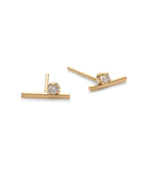 Zoe Chicco | Metallic Diamond & 14k Yellow Gold Stud Earrings | Lyst