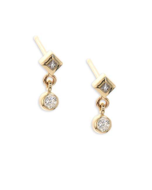 Zoe Chicco   Metallic Diamond & 14k Yellow Gold Stud Earrings   Lyst