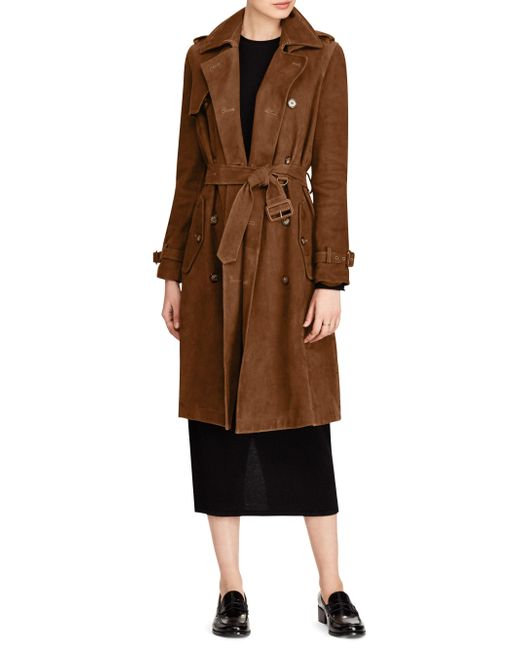 Polo Ralph Lauren | Brown Belted Suede Trench Coat | Lyst
