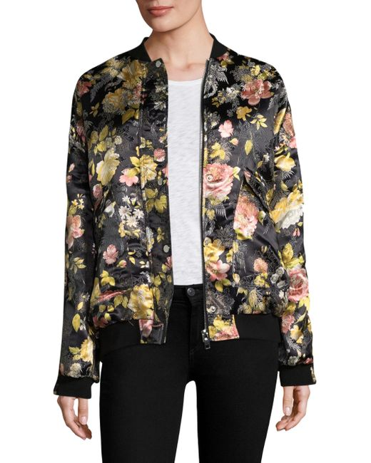 Free People | Black Floral Jacquard Bomber Jacket | Lyst