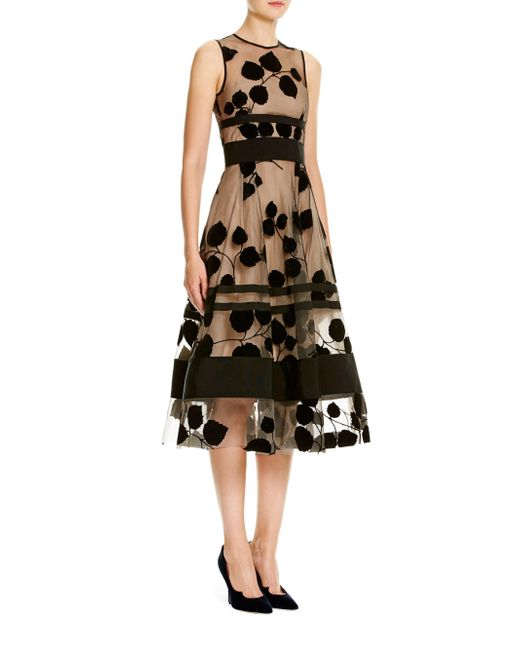 Carolina Herrera | Black Leaf-embroidered Flocked Velvet Dress | Lyst
