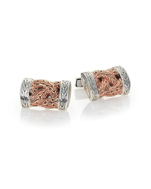 John Hardy | Metallic Classic Chain Braided Cuff Links | Lyst