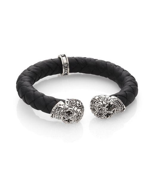 King Baby Studio | Black Leather And Sterling Silver Skull Bracelet for Men | Lyst