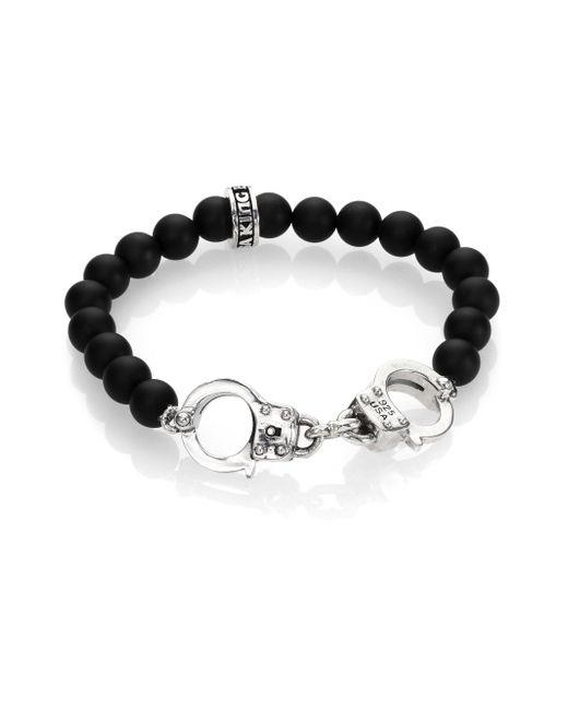 King Baby Studio   Metallic Onyx Beaded Handcuff Bracelet for Men   Lyst