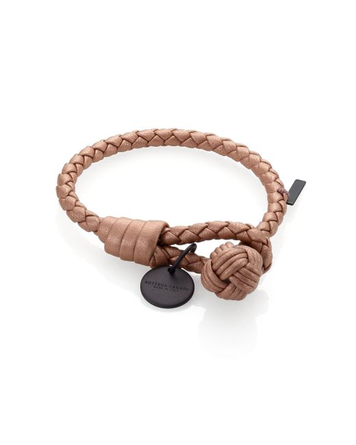 Bottega Veneta | Brown Intrecciato Leather Thin Wrap Bracelet | Lyst