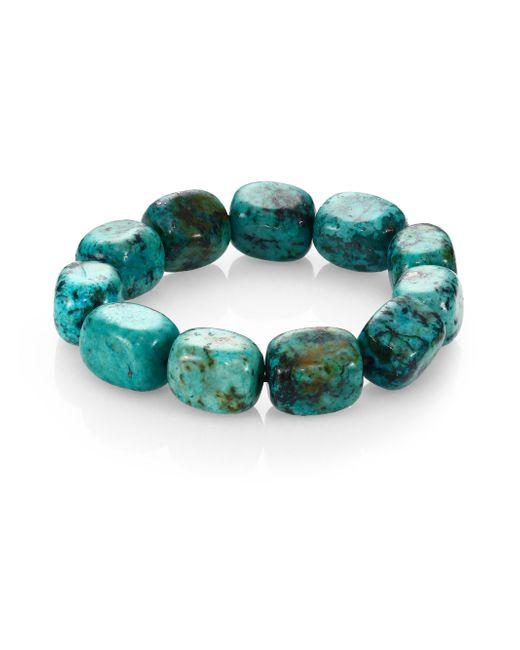 Nest | Blue Teal Agate Square Beaded Stretch Bracelet | Lyst
