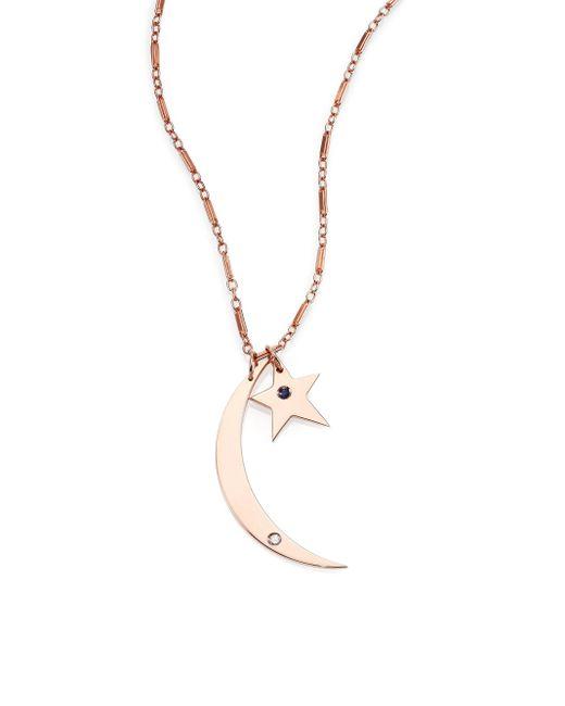 Jennifer Zeuner | Pink Everly Sapphire & Diamond Crescent Star Double-pendant Necklace | Lyst