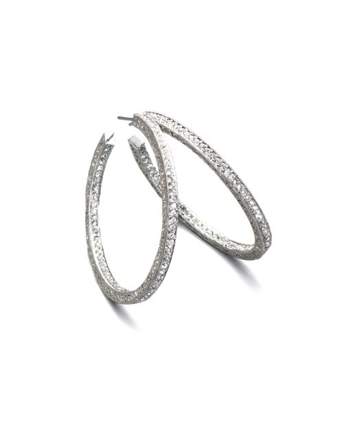 Adriana Orsini | Metallic Pave Crystal Hoop Earrings/1.5 | Lyst