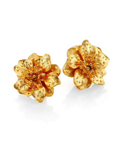 Kenneth Jay Lane | Metallic Anemone Flower Clip-on Button Earrings | Lyst