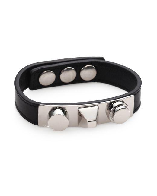 Saint Laurent | Black Classic 3 Clous Studded Leather Bracelet/silvertone | Lyst
