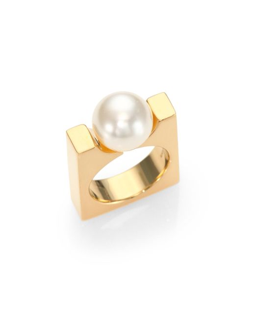 Chloé | Metallic Darcey Faux Pearl Square Ring | Lyst