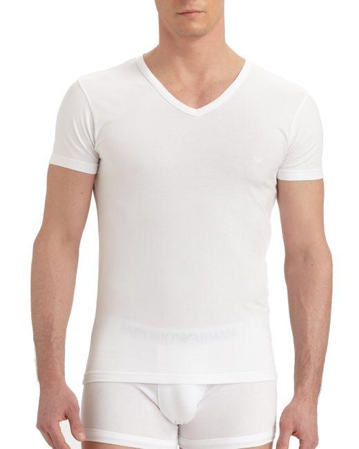 Emporio Armani   White Stretch Cotton V-neck T-shirt for Men   Lyst