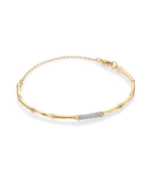 John Hardy | Metallic Bamboo Diamond & 18k Yellow Gold Bangle Bracelet | Lyst