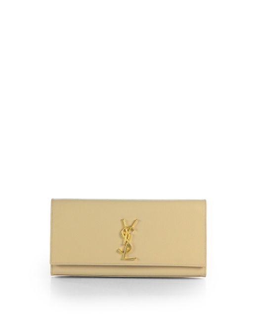 Saint Laurent | Natural Kate Monogram Leather Clutch | Lyst