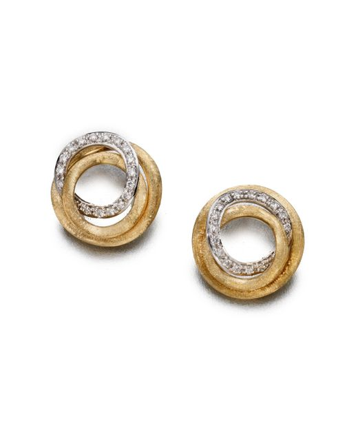 Marco Bicego | Metallic Jaipur Link Diamond & 18k Yellow Gold Stud Earrings | Lyst