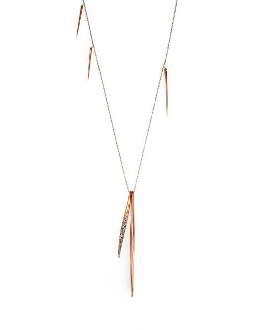 Alexis Bittar | Pink Miss Havisham Crystal Long Spear Necklace/rose Goldtone | Lyst