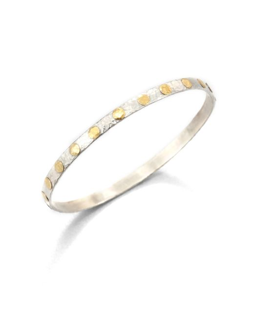 Gurhan | Metallic Edifice 24k Yellow Gold & Sterling Silver Midnight Dot Bangle Bracelet | Lyst