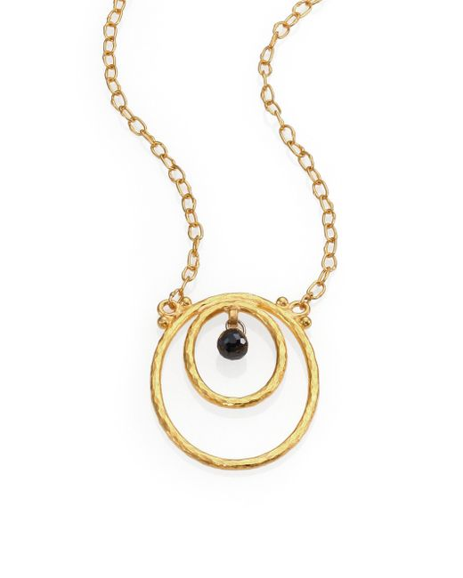 Gurhan | Metallic Hoopla Black Diamond & 24k Yellow Gold Pendant Necklace | Lyst