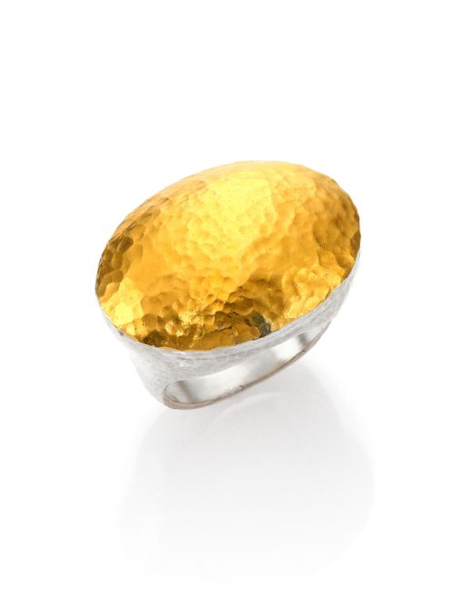 Gurhan | Metallic Curve 24k Yellow Gold & Sterling Silver Jordan Oval Dome Ring | Lyst