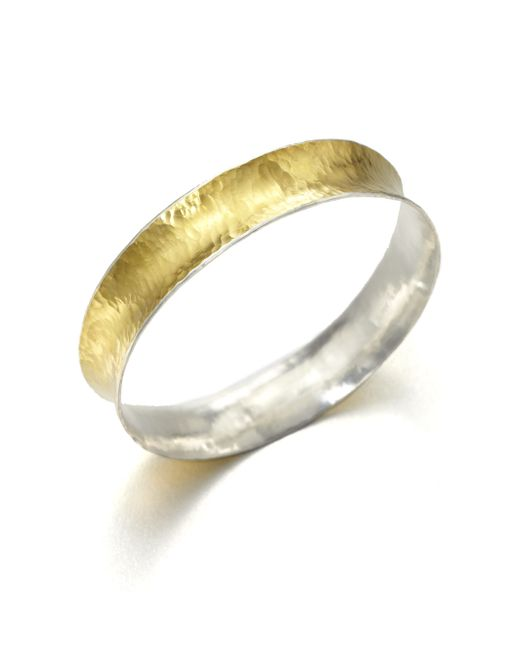 Gurhan | Metallic Hourglass 24k Yellow Gold & Sterling Silver Bangle Bracelet | Lyst