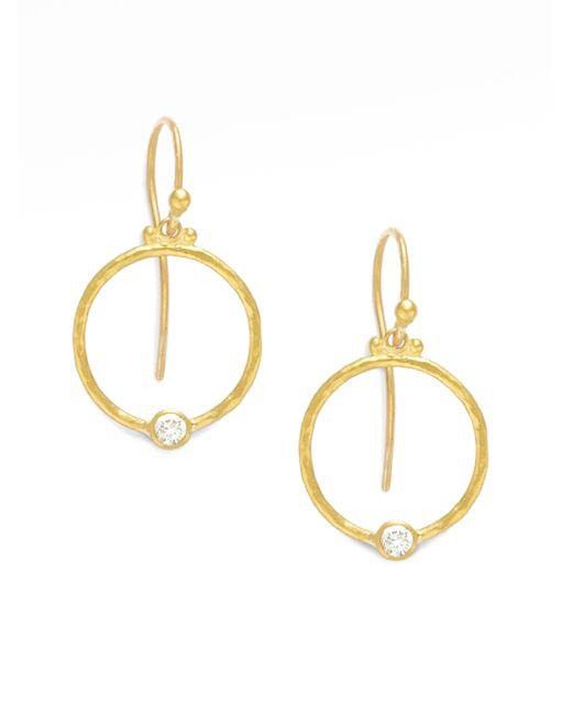Gurhan | Metallic 24k Gold & Diamond Hoop Earrings | Lyst
