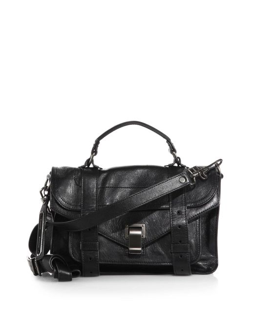 Proenza Schouler | Black Ps1 Tiny Leather Satchel | Lyst