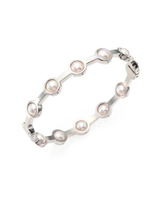 Majorica | Metallic 5mm White Pearl Station Bangle Bracelet/silvertone | Lyst