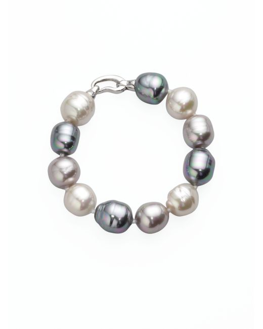 Majorica | 14mm Multicolor Baroque Pearl & Sterling Silver Strand Bracelet | Lyst