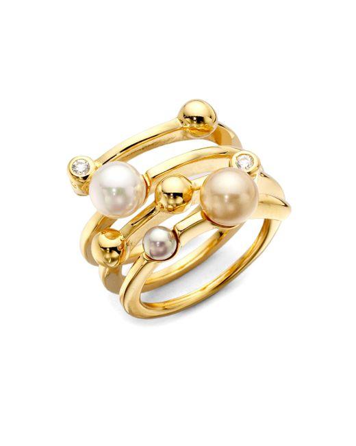 Majorica | Metallic Endless Simulated Pearl Ring | Lyst
