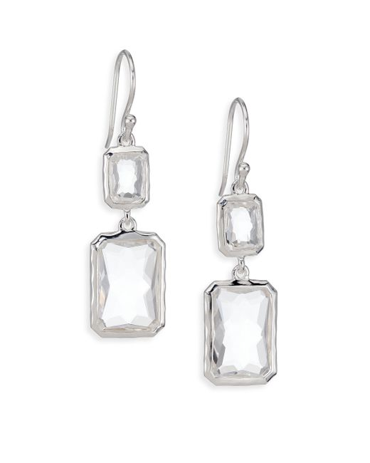 Ippolita | Metallic Rock Candy Clear Quartz & Sterling Silver Snowman Rectangle Drop Earrings | Lyst