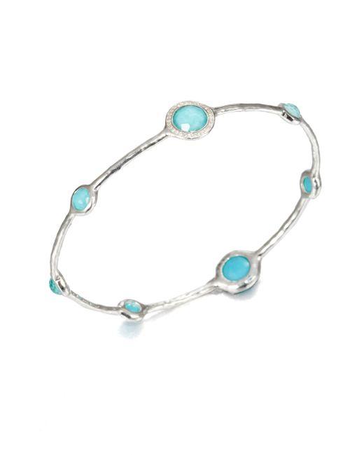 Ippolita | Metallic Stella Turquoise, Mother-of-pearl, Diamond & Sterling Silver Doublet Bangle Bracelet | Lyst